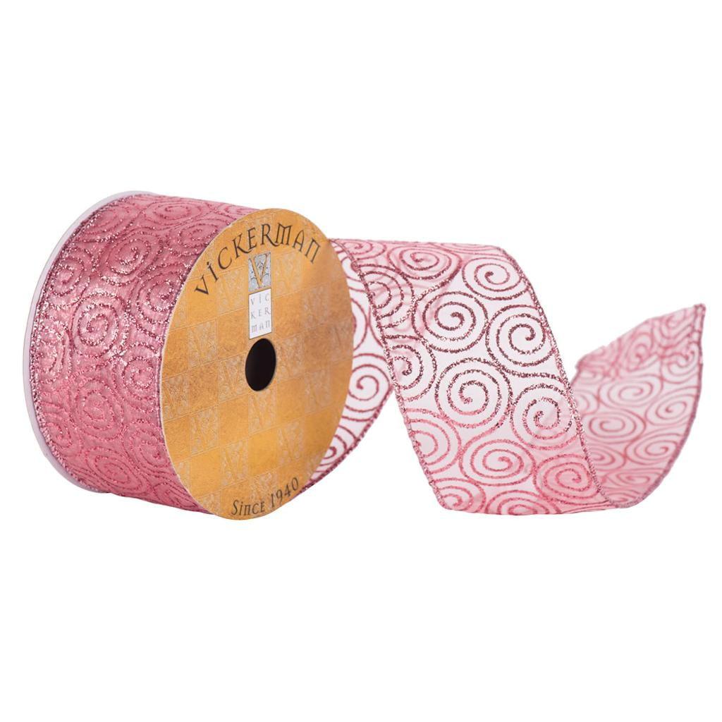 "2.5"" x 10yd Pink Glitter Swirl"