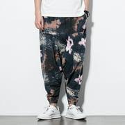 Mens Casual Harem Print Pants  Loose Cotton Linen Drawstring Pants National Style Wide Leg Pants