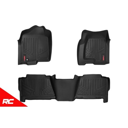 Rough Country Floor Liners compatible w/ 1999-2006 Chevy Silverado GMC Sierra Crew Cab Front/Rear M-29913 Duty Floor