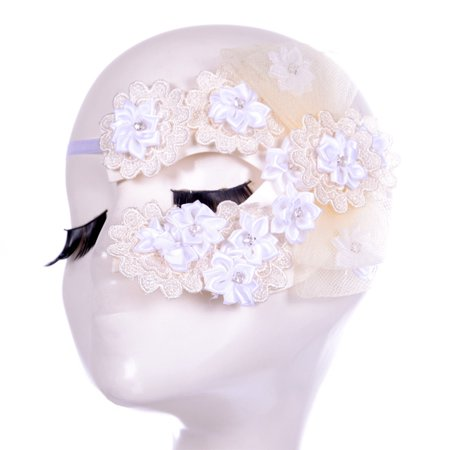 Fashional Women's Lace Eye Mask Cosplay Sexy Eye Veil for Halloween Christmas Masquerade Costume Party (White)