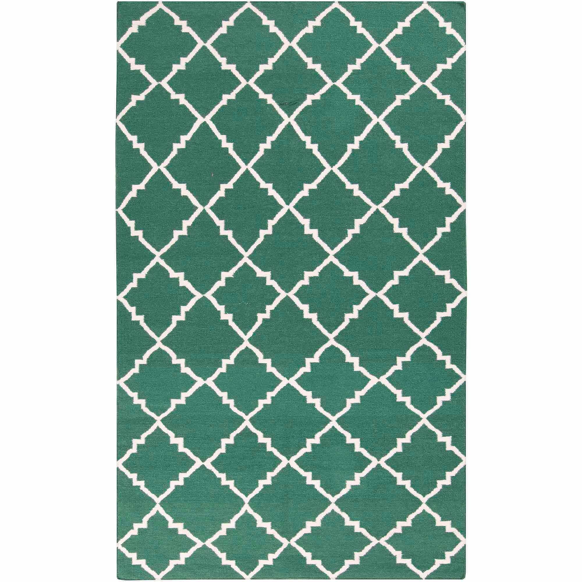 Art of Knot Prichard Hand Woven Gate Scroll Flatweave Wool Area Rug, Forest