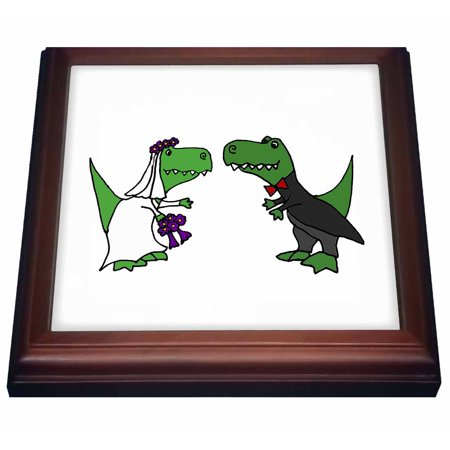 Lights Trivet (3dRose Funny Green Trex Dinosaurs Bride and Groom Wedding Art, Trivet with Ceramic Tile, 8 by 8-inch)