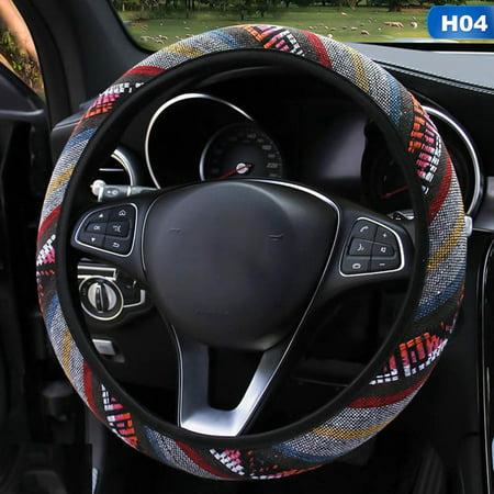 SHOPFIVE 2019 New Fashion Universal Folk-Custom Imitation Linen Elastic Band Steering Wheel Cover Car Styling