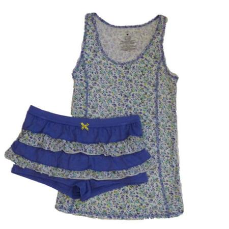 Valentines Womens Purple Floral Rhumba Shorts Tank Pajama Set Ruffle Pajamas - Valentines Pajamas
