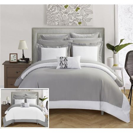 Chic Home CS0517-US Charlene Modern Two Tone Reversible Hotel Collection, Embellished Borders & Embroidery Decor Pillow Bed in a Bag Comforter Set with Sheets - Grey - King - 10 Piece