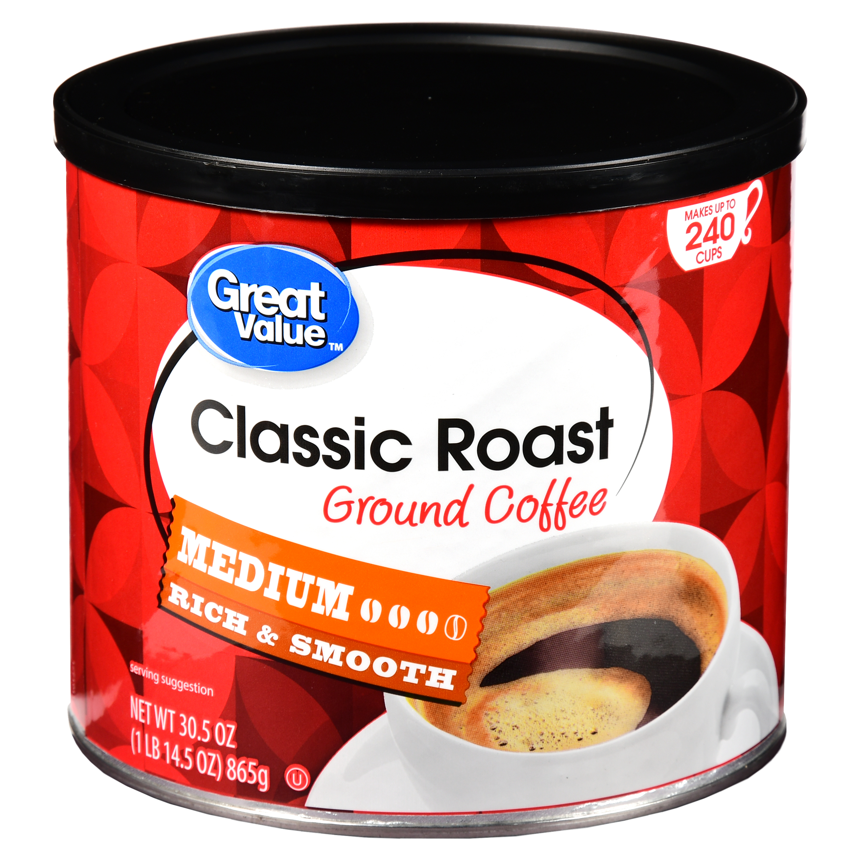 Great Value Classic Roast Ground Coffee, Medium Roasted, 30.5 oz