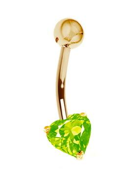 14k Yellow Gold Heart Belly Button Navel Ring Body Art