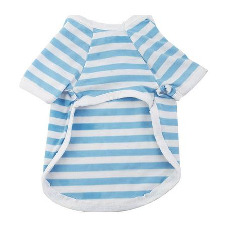 Pet Cat Cotton Blend Summer Coat Clothes T-shirt Apparel Costume Blue White S - image 2 de 3