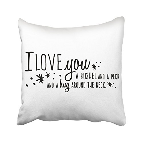 WinHome I Love You A Bushel And A Peck And A Hug Around The Neck Decorative Pillowcases With Hidden Zipper Decor Cushion Covers Two Sides 18x18 inches