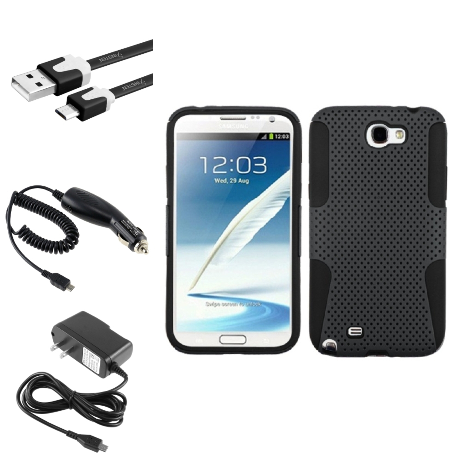 Insten Black/Grey Hybrid Case+2x Charger+3x USB Cable For Samsung Galaxy Note 2 II