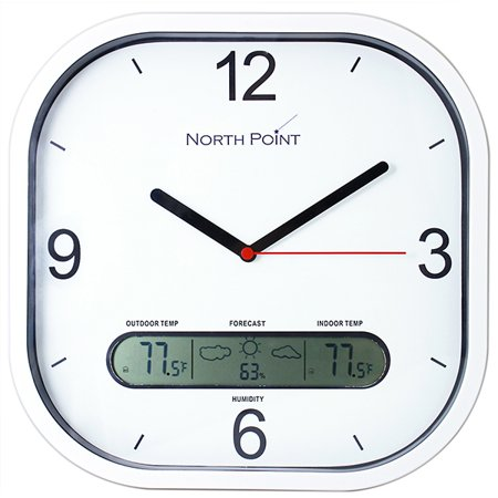 Analog Wind Display (Northpoint White Wireless Wall Clock with Indoor/Outdoor Temperature and Humidity with Wireless Transmitter, Home Decor Clock, Wireless Clock, Temperature Display Clock, Analog Wall)