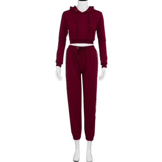 12194a3eb026a Topcobe - Women's Long Sleeve Tracksuits for Women, Casual Two-Piece  Sportswear Hoodie Sweatshirt for Women, Pink / Wine Red Tops with  Sweatpants Gift for ...