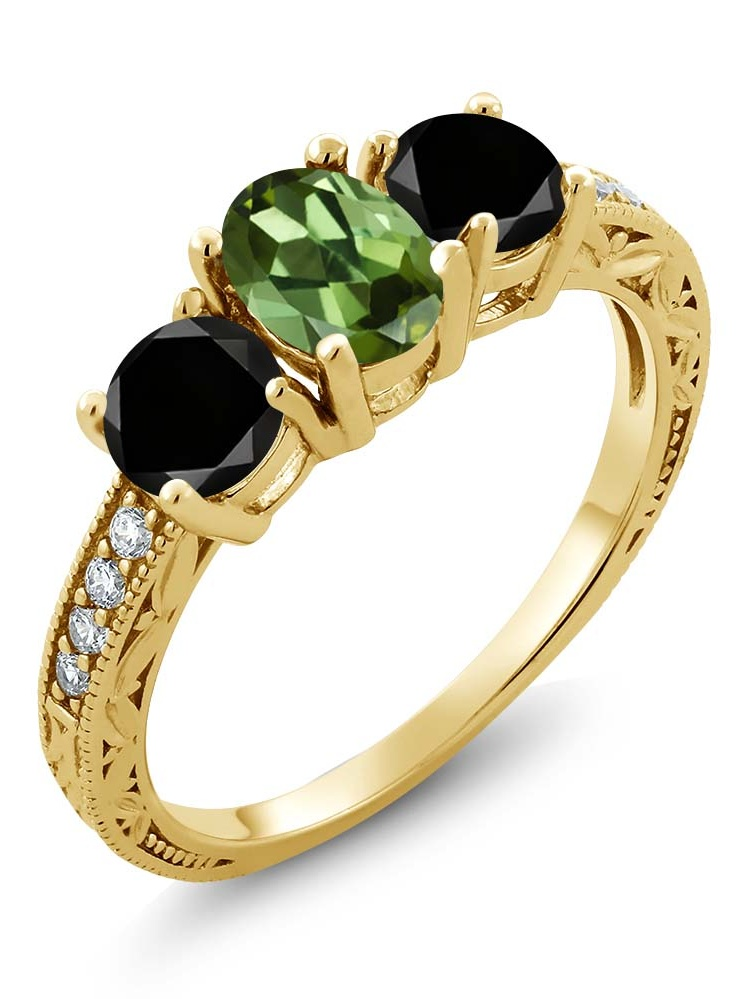 Gem Stone King 1.92 Ct Oval Green Tourmaline Black Diamond 18K Yellow Gold Plated Silver Ring by