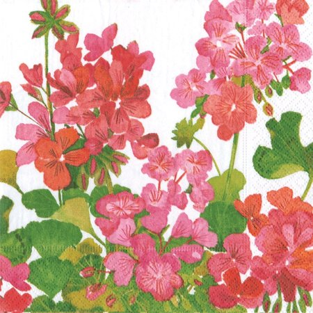 Geraniums Paper Luncheon Napkins, Pack of 20, Caspari napkins will add a splash of color and sophistication to your next party or event By Entertaining with Caspari