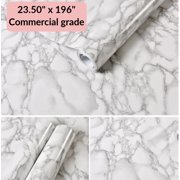 "White Marble Commercial Grade Contact Paper Self Adhesive Removable 24"" x 16 ft"