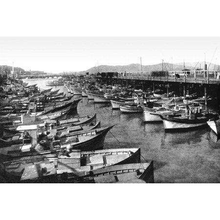 Fishermans Wharf San Francisco CA Stretched Canvas - Vintage San Francisco (12 x 18) (Fishermans Wharf San Francisco Ca)