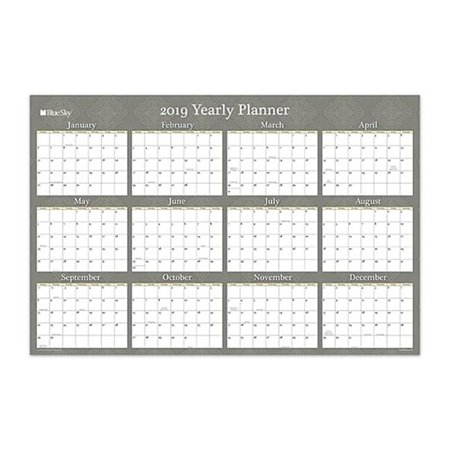 Laminated Reversible Planner (Blue Sky 100032 36 x 24 in. Yearly Erasable Laminated Planner, Adriana - Taupe)