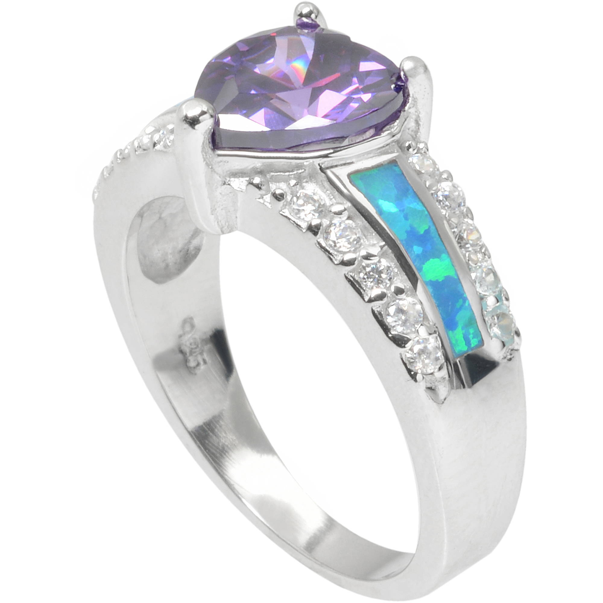 Alexandria Collection Sterling Silver1-1/2 Carat T.G.W. Heart Cubic Zirconia Heart Ring