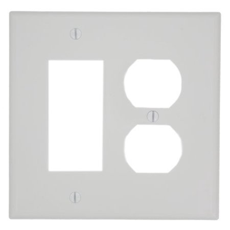 Leviton PJ826-W White Midway Nylon Two Gang Combination Duplex Receptacle Decora Wall Plate ()