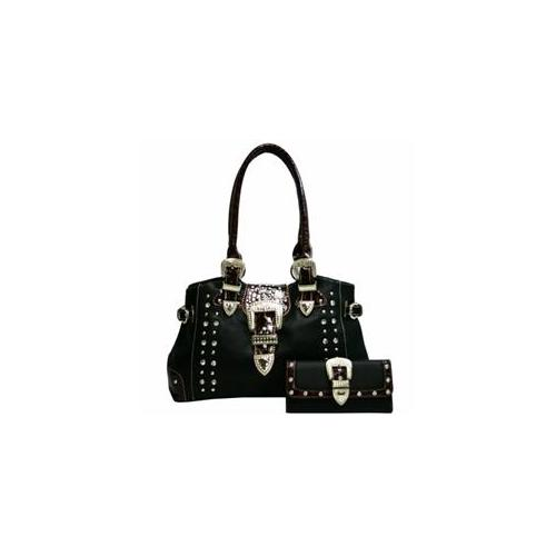 Ritz Enterprises BT928W113Set-BK Western Studded Rhinestone Buckle Shoulder Bag With Croco Trim & Matching Wallet- Black