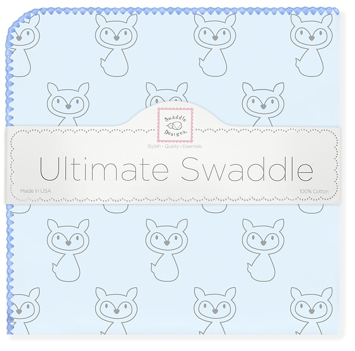 SwaddleDesigns Ultimate Swaddle Blanket, Made in USA, Premium Cotton Flannel, Gray Fox with Blue Trim