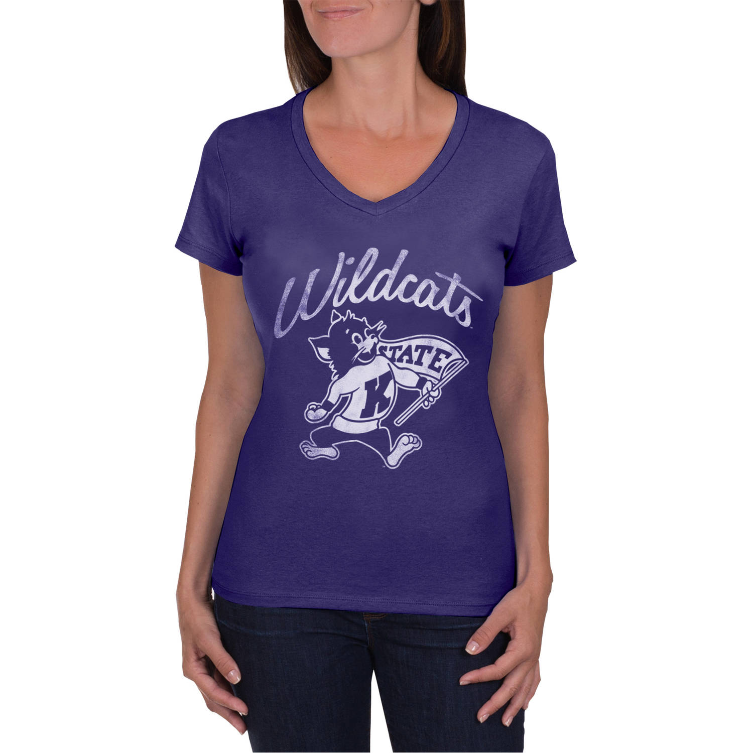NCAA Kansas State Wildcats Women's V-Neck Tunic Cotton Tee Shirt