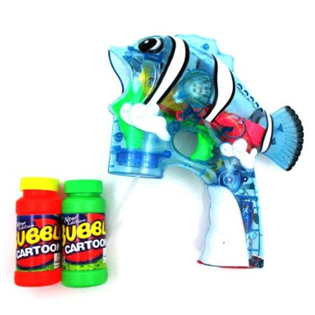 Fish Flash Toy Bubble Gun Shooter  Clear Blue   Gift Idea