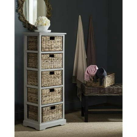 Safavieh Vedette Vintage Grey 5 Drawer Wicker Basket