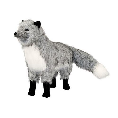 "33"" Luxurious Life-Like Extra Soft Plush Standing Trek Silver Fox Stuffed Animal by The Hen House"
