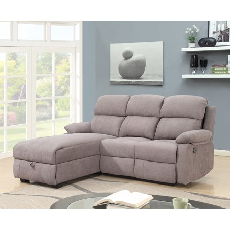 Ottomanson Recliner L-Shaped Corner Sectional Sofa with Storage