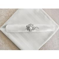 "Wedding Linens Inc. (10pcs) 20""x 20"" Stripe Jacquard Polyester Cloth Napkins for Wedding Party Reception Stripes Linen Napkin Event Catering Decorations - White"