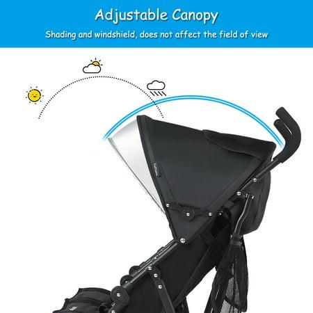 Baby Joy Foldable Twin Baby Double Stroller, Black