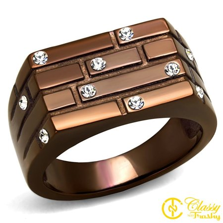 Classy Not Trashy® Studded Blocks Design Clear Crystal Stainless Steel Men's Ring Size 12 12 Block Z Design