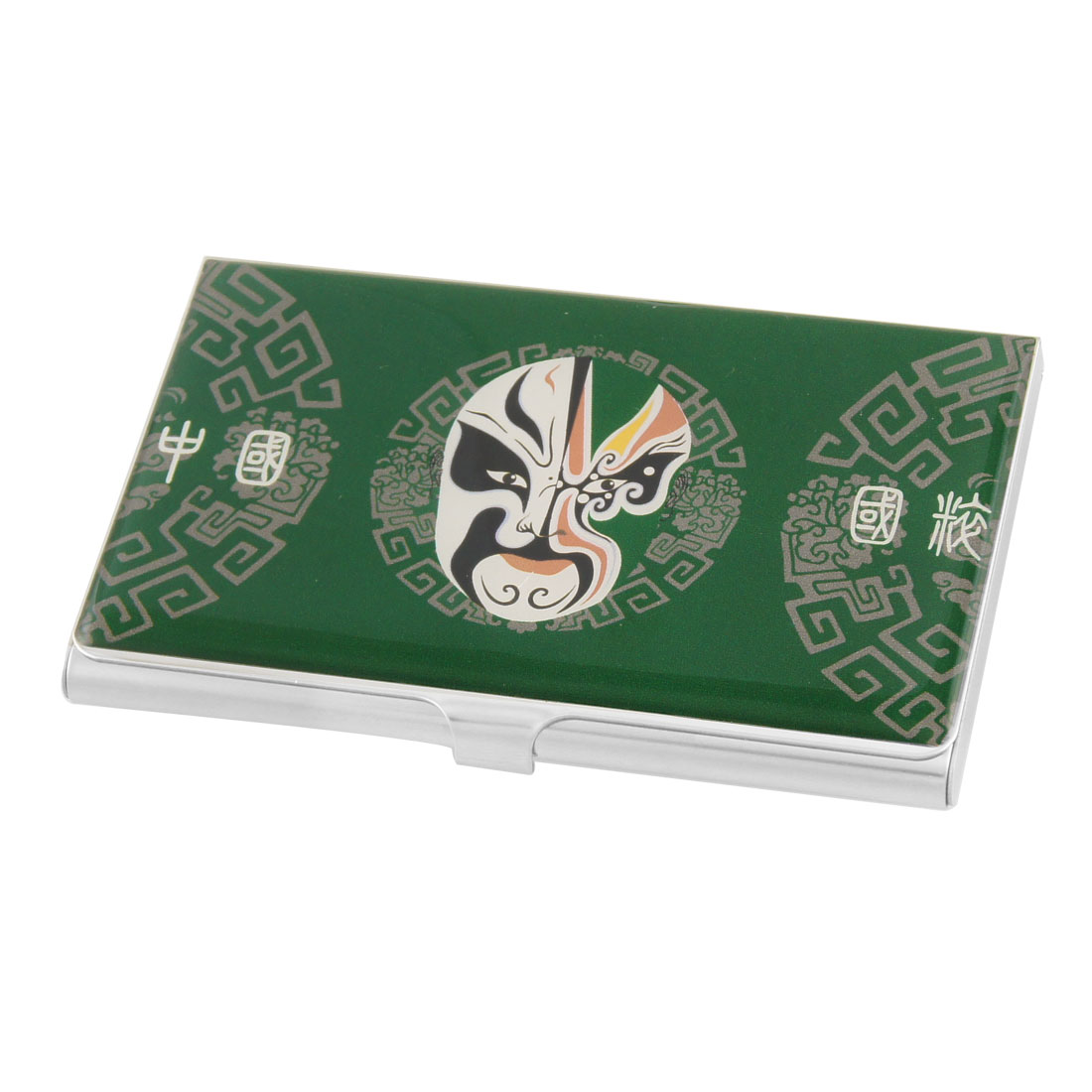 Unique Bargains Green Background Opera Mask Prints Rectangle Name Card Holder Box