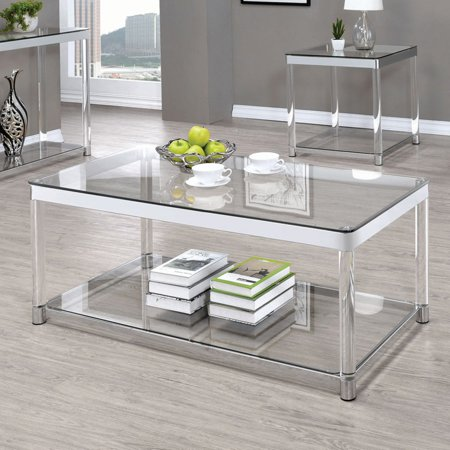 Coaster Glass Top Coffee Table in Chrome ()