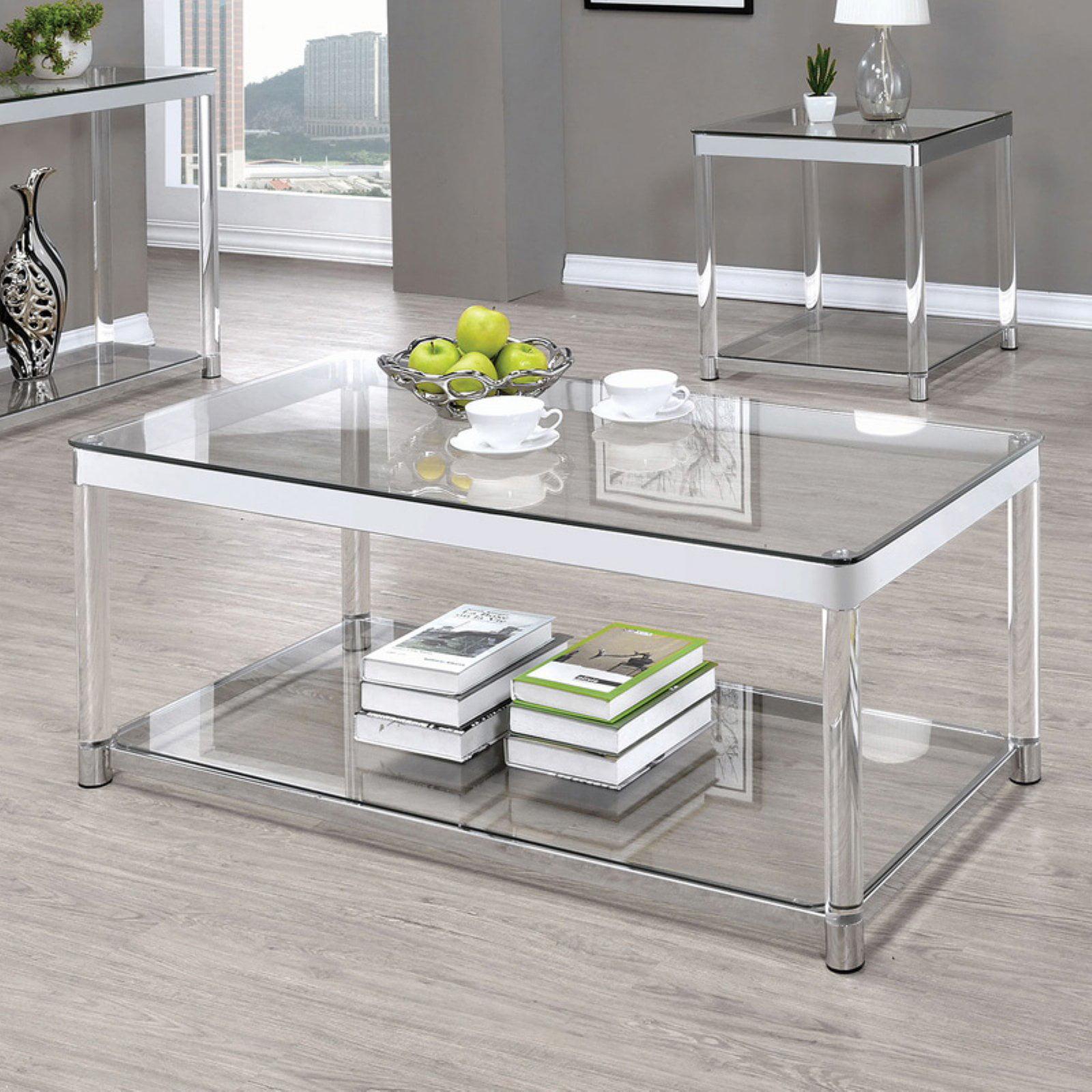 Coaster Company Coffee Table, Chrome and Clear Acrylic