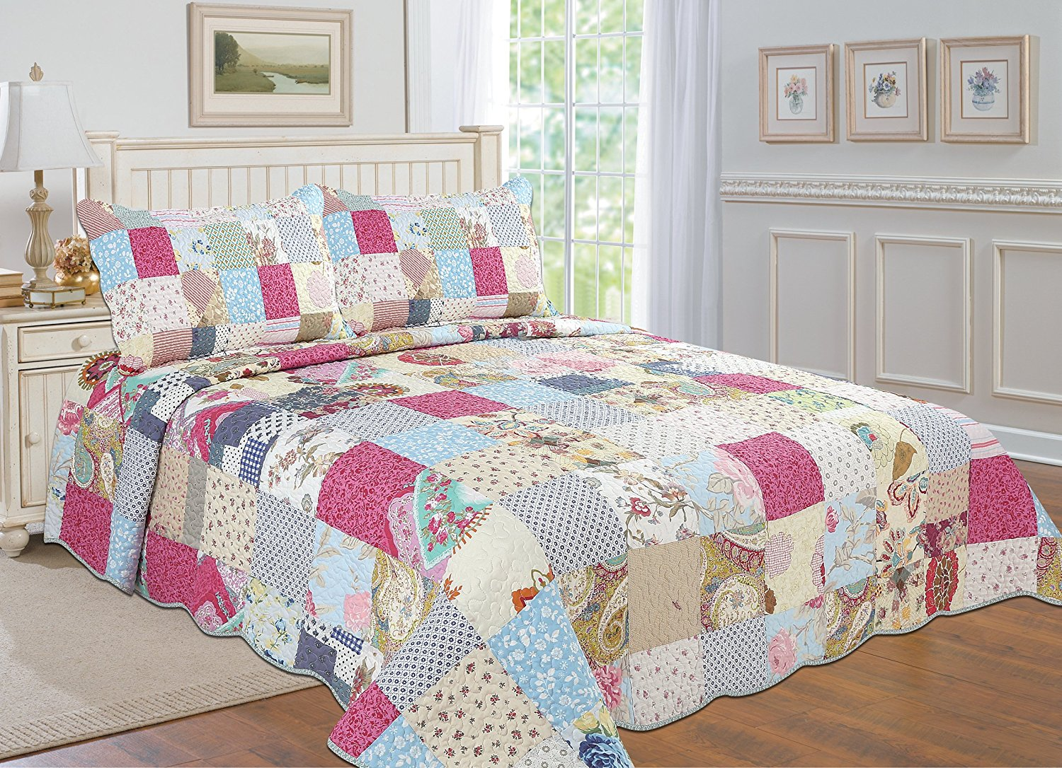 All for You 3-piece Reversible Bedspread  Coverlet   Quilt Set- OverSize-Real patchwork... by All For You Home