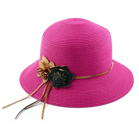 6046c524 Outdoor Travel Flower Decor Wide Floppy Brim Beach Straw Cap Sun Hat  Fuchsia - image 5 ...
