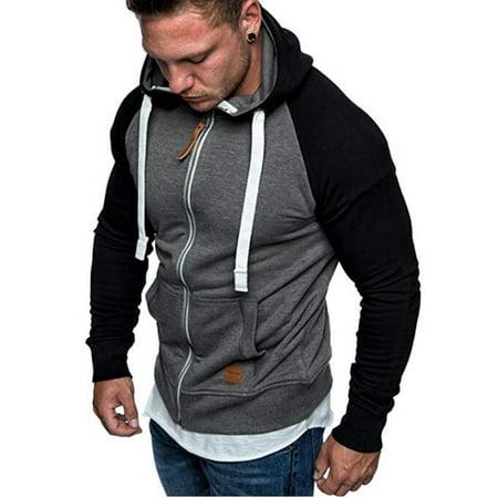 Mens Hooded Sweatshirt Zipper Long Sleeve Full Zip Drawstring Splice Casual Sweatshirts Top Blouse -