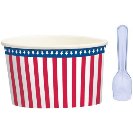 Amscan Red White Blue Ice Cream Cups and Spoons 8ct](Disposable Ice Cream Cups)