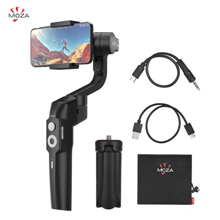 MOZA Mini-S Foldable Handheld 3-Axis Smartphone Gimbal Stabilizer Object Tracking Follow Focus Zoom Time-lapse 280g Payload with 1/4 Inch Screw Hole Mini Tripod Storage Pouch for iPhone X/Xs/Xr/8/8