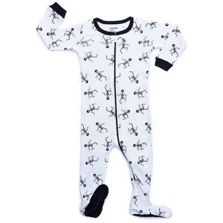 Leveret White Skeleton Footed Pajama Sleeper 100% Cotton 2 Years