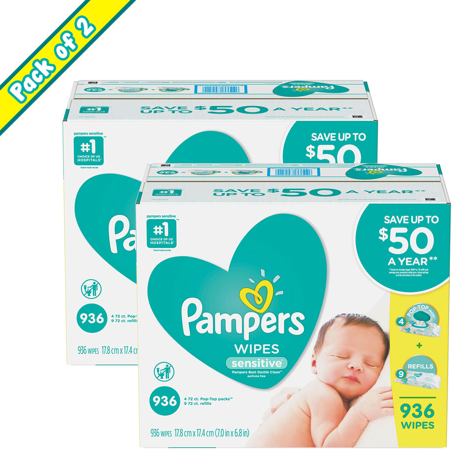 Pack of 2 Pampers Sensitive Baby Wipes - 936 ct. (Includes Four 72-ct. Pop-Top Packs w/ Nine 72-ct. Resealable Refills)