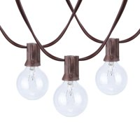 Better Homes & Gardens 18.7ft 20ct G40 Clear Glass Globe Bulbs Brown Wire Warm White String Lights for Outdoor and Indoor Use