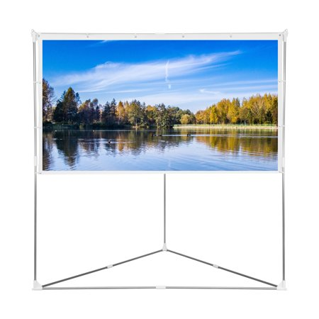 Cloud Mountain 100 inch 16:9 Projector Screen with Triangle Stand Transportable Bag, Wrinkle-Free Aluminum Bars Projection Screen for Home Cinema, Theater, Event, -