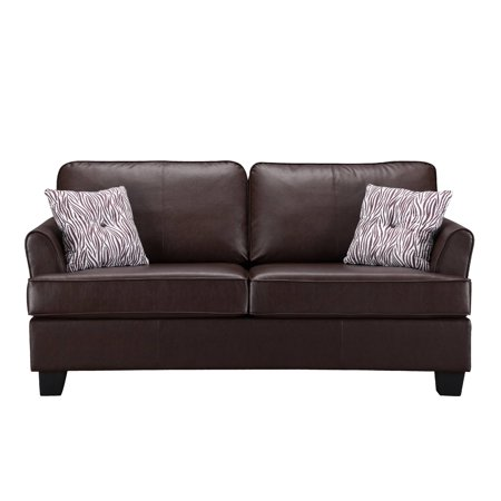 Brown Faux Leather Full Size Hide A Bed Sofa Sleeper Solid Wood Frame
