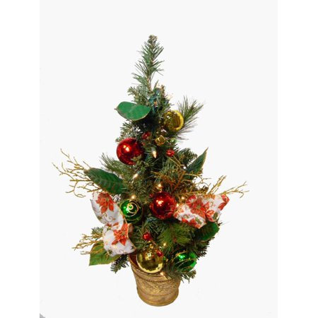 (2' Poinsettia and Ball Ornament Pre-Lit Decorated Christmas Tree - Clear Lights)