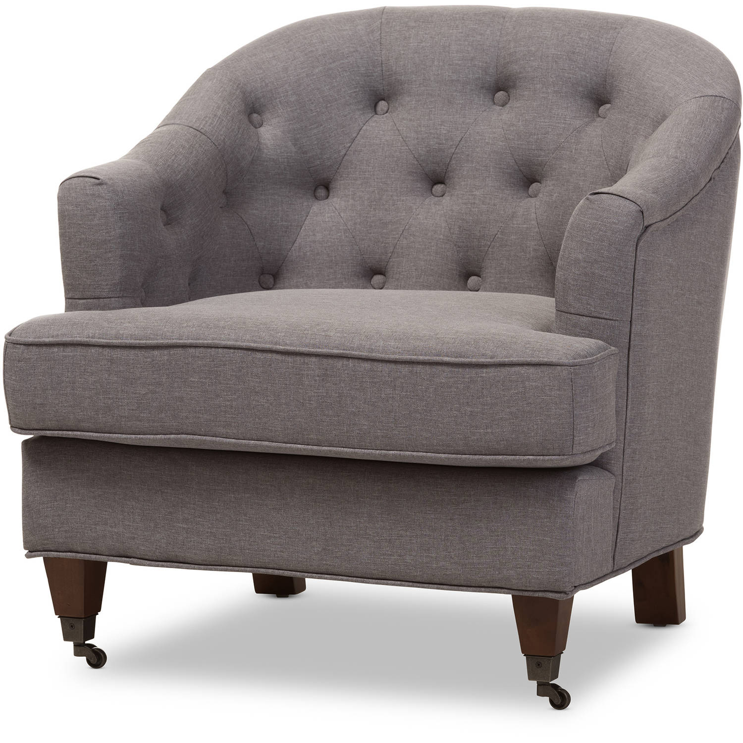 Baxton Studio Jilian Modern and Contemporary Light Gray Fabric Upholstered Walnut Wood Button-Tufted Armchair by Baxton Studio