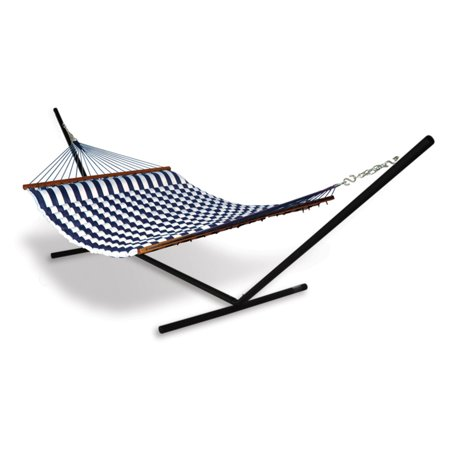 Hammaka Universal Hammock Stand with Blue/White Pillow Double Hammock Combo The old standards are always the best, and the Hammaka Universal Hammock Stand with Blue/White Pillow Hammock Combo is a picture of classic hammock style and comfort. Resting on a simple, easy-to-assemble aluminum frame, this roomy hammock sports a woven body of all-weather, UV-protected polyester with an integrated pillow stuffed with firm, supportive ComfortFoam. It's easy to set up and designed for a life outdoors, so you know that your new favorite lounging spot will always be ready to go. Take your pick from a range of color options to get the look that's best for you.About HammakaHammaka products, now brought to you by King's Pond, are designed to provide a comfortable getaway from all of life's stresses. It all started with the Original Hammaka Hammock Chair, but the wide variety of luxurious chairs is constantly growing in order to give you the perfect fit