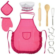 11Pcs Kids Chef Set, Kitchen Cooking and Baking Kits, Pretend Play Dress Up Role Play Toys, Includes Apron, Chef Hat, Oven Mitt, Wooden Spoon, Cookie Cutters, Rolling Pin for Girls Birthday Xmas Gift